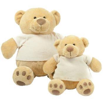Funny honey bear | Soft teddy with t-shirt | light brown | 28 cm and 38 cm