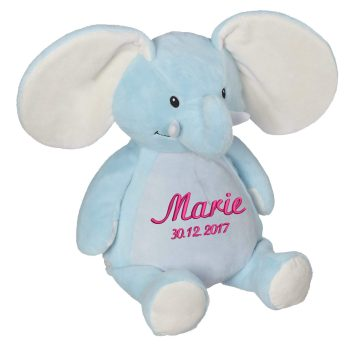 Soft toy with name - Blue Elephant, 16 inch