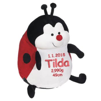 Soft toy with name - Ladybug, red, 16 inch