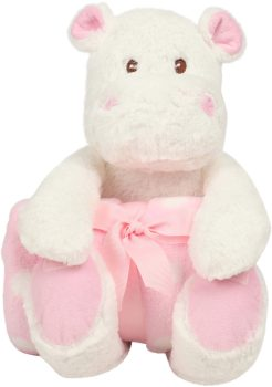 Plush toy with name - Plush hippopotamus with blanket, pink