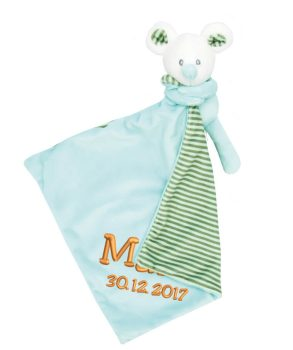 Comforter with name - Baby comforter little mouse Noah | turquoise | 35 cm