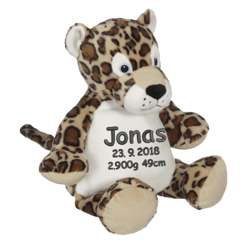 Soft toy with name - Leopard, 16 inch