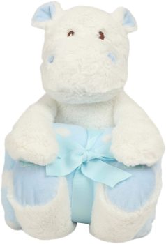 Plush toy with name - Plush hippopotamus with blanket, sky blue