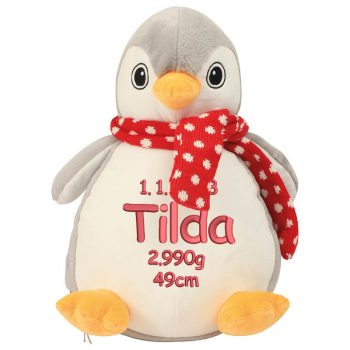 Soft toy with name - penguin Zippie, 33 cm