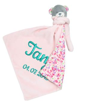 Comforter with name - Baby comforter bear Emma | pink | 35 cm
