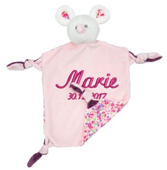 Comforter with name - Baby comforter mouse Ella with rattle | pink | 24 cm