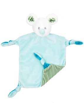 Baby comforter mouse Louis with rattle | turquoise | 24 cm