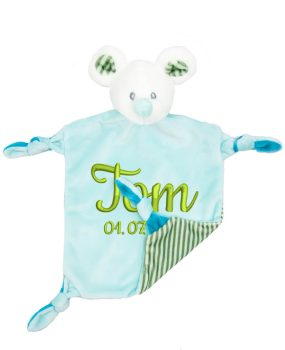 Comforter with name - Baby comforter mouse Louis with rattle | turquoise | 24 cm