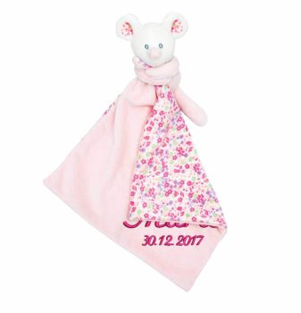 Comforter with name - Baby comforter little mouse | pink | 35 cm