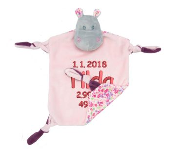 Comforter with name - Baby comforter hippopotamus Sophia with rattle | pink | 24 cm