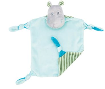 Baby comforter hippopotamus Henry with rattle | turquoise | 24 cm