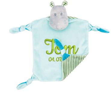 Comforter with name - Baby comforter hippopotamus Henry with rattle | turquoise | 24 cm