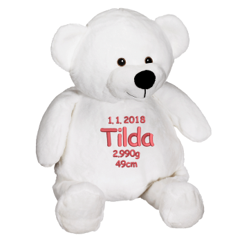 Soft toy with name - White Teddy, 41 cm