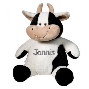 Soft toy with name - cow, 16 inch
