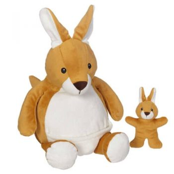 Soft toy with name - Kangaroo with baby kangaroo, 16 inch
