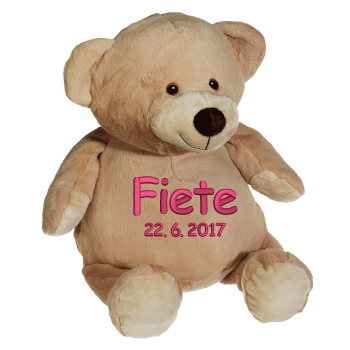 Soft toy with name - Teddy, brown, 14 inch