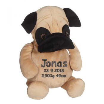 Soft toy with name - Pug, 16 inch