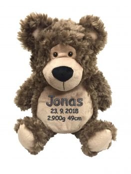 Plush toy with name - Teddy Bobby bear, brown, 41 cm