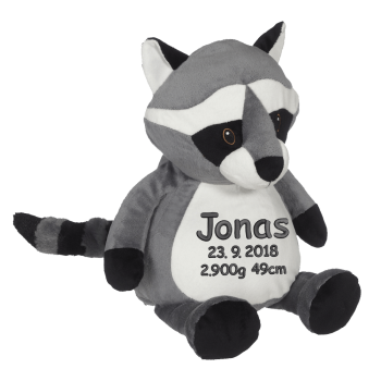Soft toy with name - Raccoon, 16 inch
