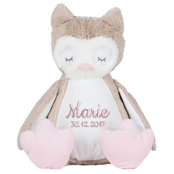 Soft toy with name - owl Zippie, 42 cm