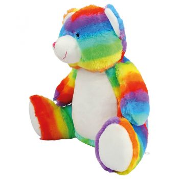Plush toy with name - Rainbow Teddy Zippie, 42 cm