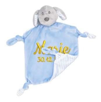 Comforter with name - Baby comforter dog Benno with rattle | blue | 24 cm