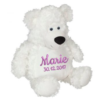 Plush toy with name - Teddy Bobby bear, white, 41 cm