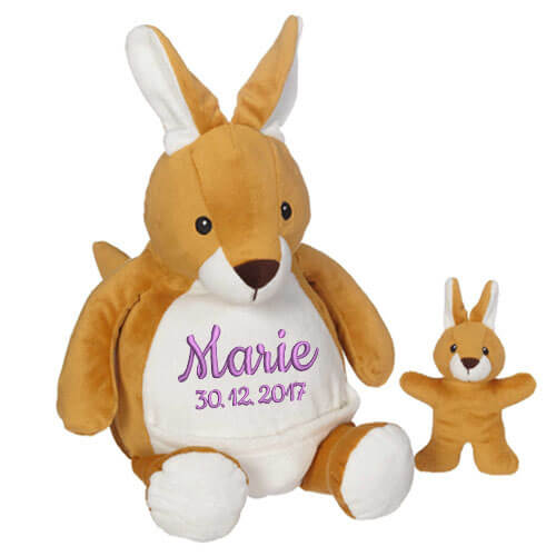 Soft Toy With Name Kangaroo With Baby 16 Inch