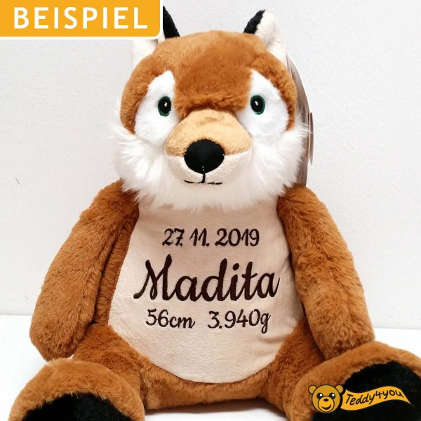 Soft toy with name - Classic Fox Frederick, 22 inch - Example