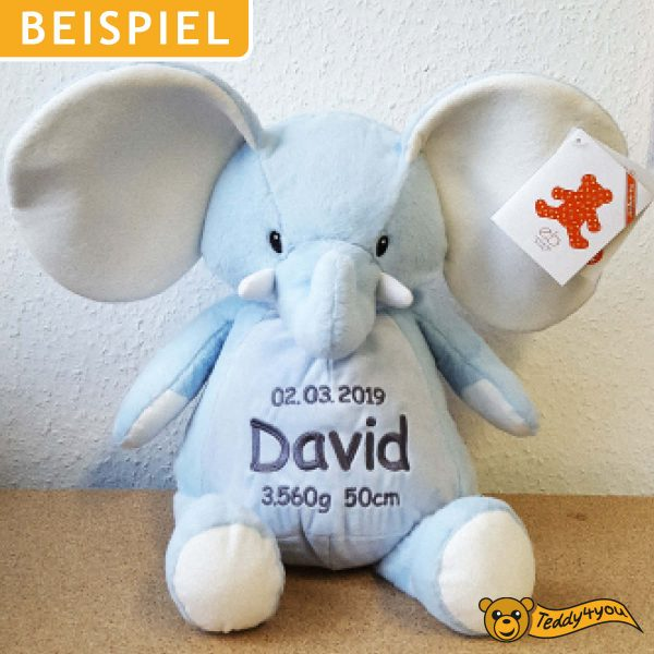 Example: Soft toy with name - Blue Elephant, 16 inch