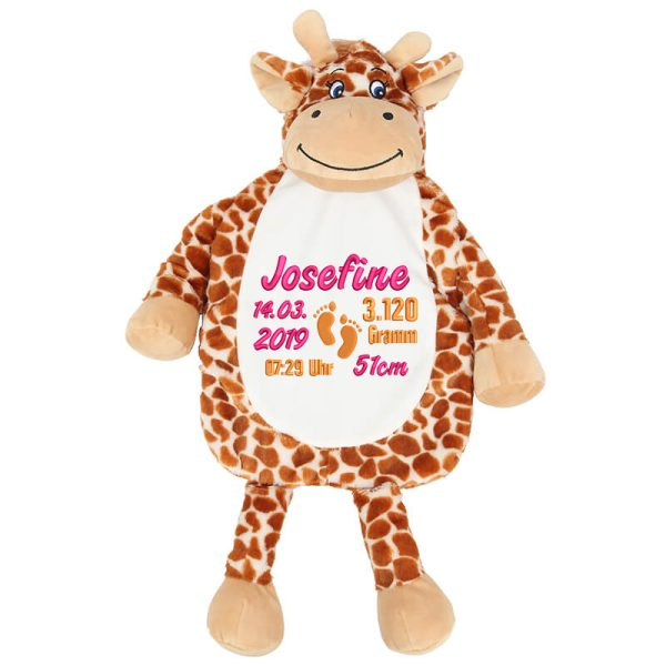 Hot water bottle cover with name | Giraffe | brown | One size fits all