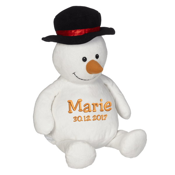 Soft toy with name - Snowmann, 16 inch