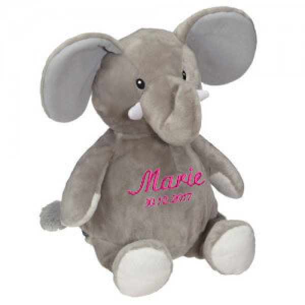 Soft toy with name - elephant, gray, 16 inch