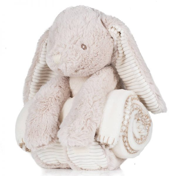 Cuddly Blanket with Name - Light Brown Bunny with Blanket, 40 cm